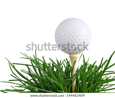 Golf Ball on a Tee in Green Long Grass isolated on white - stock photo