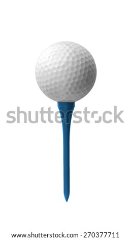 Golf ball on a tee isolated - stock photo