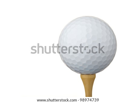 Golf ball on a tee, isolated on white - stock photo