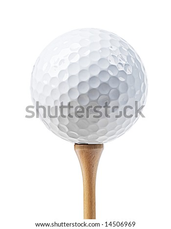 Golf ball on a tee isolated on white (with clipping path) - stock photo