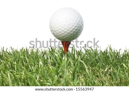 Golf ball on a tee with grass and white background. - stock photo