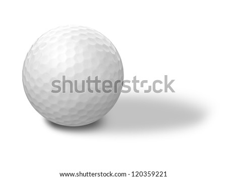 Golf ball on a white background - stock photo