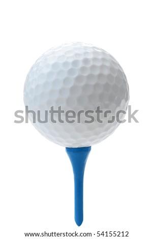 Golf ball on blue tee. - stock photo