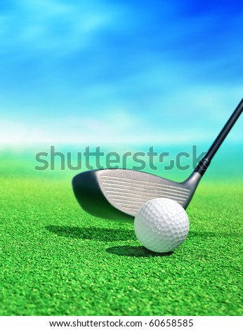 golf ball on course in front of driver - stock photo