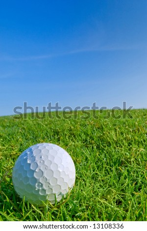 golf ball on dewy grassy bunker with blue sky background - stock photo