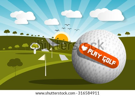 Golf Ball on Field with Sun and Sky and Love Play Golf Title - stock photo