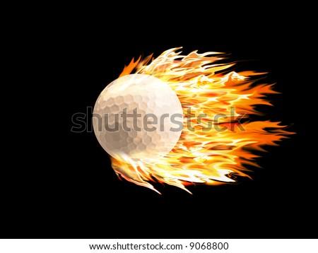 Golf ball on fire - stock photo