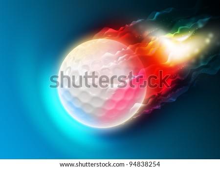 Golf ball on fire. - stock photo