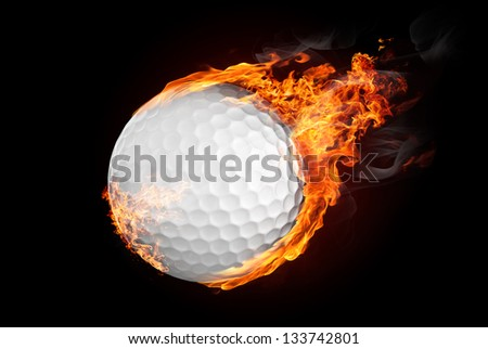 Golf ball on fire flying down - illustration - stock photo