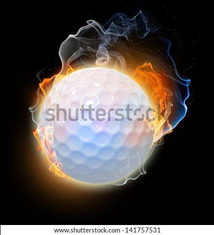 Golf ball on fire. Illustration on black background - stock photo