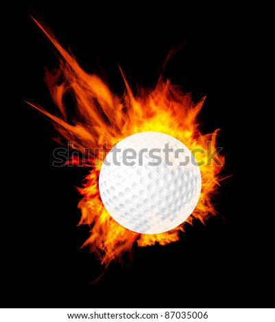 Golf ball on fire. Illustration on black background - stock photo