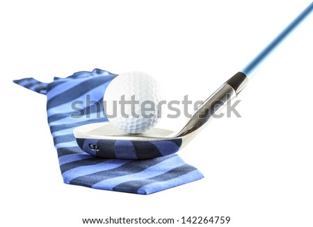 Golf ball on golf clubs with necktie - stock photo
