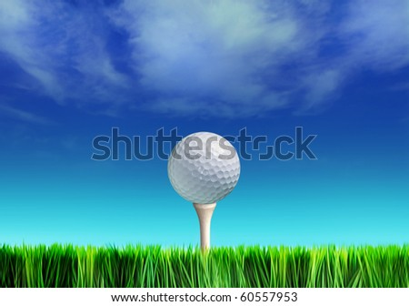 Golf ball on grass against blue sky and white clouds - stock photo