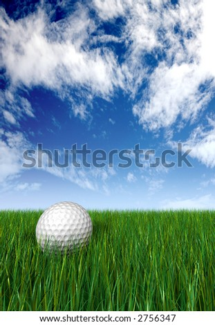 golf ball on grass and blue sky in the background made in 3d - stock photo