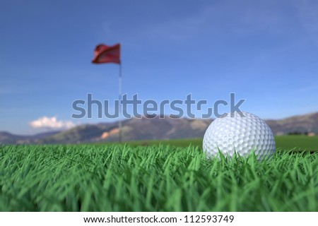 Golf Ball on Grass Field with Flag Background