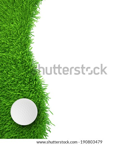 golf ball on grass. realistic grass. close up - stock photo