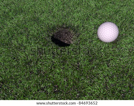 golf ball on green - stock photo