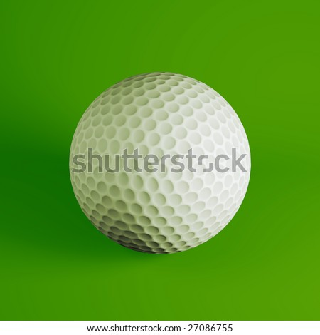 Golf ball on green background (3d rendering)