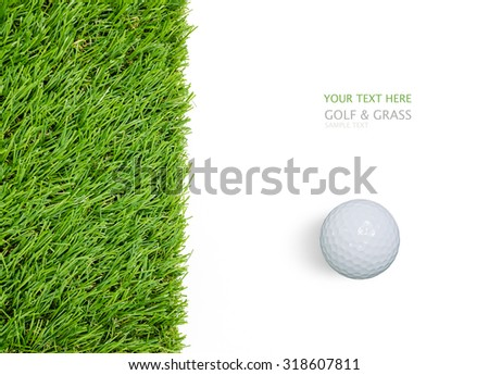 Golf ball on green grass background isolated on white with clipping path.