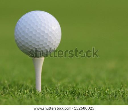Golf ball on green grass. Closeup - stock photo