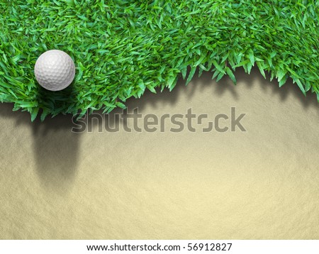 Golf ball on green grass for web page background - stock photo