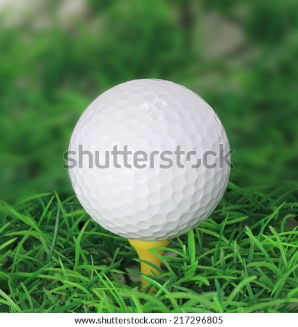 Golf ball on green grass, selective focus - stock photo