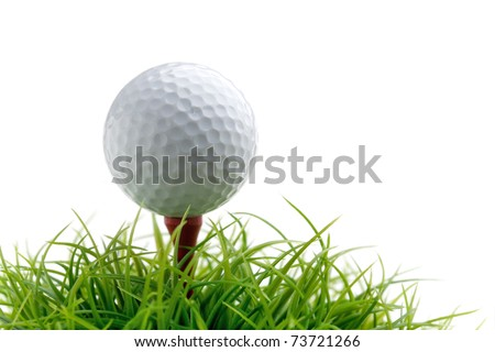 Golf ball on green grass, selective focus - stock photo