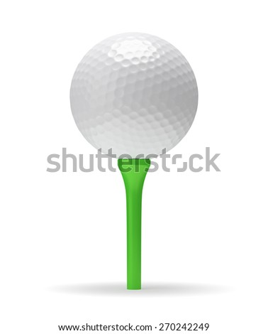 Golf ball on green tee with shadow 3D illustration isolated on white background - stock photo