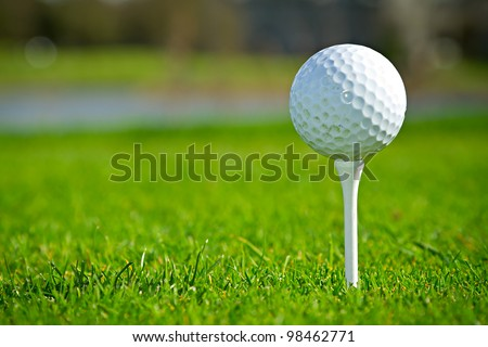 Golf ball on Irish idyllic course - stock photo