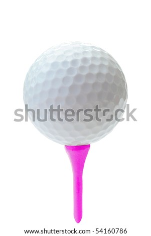 golf ball on pink tee close up - stock photo