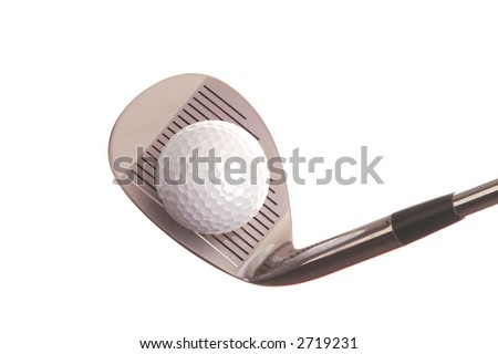 Golf Ball on pitching wedge isolated on white