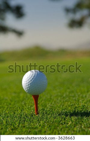 Golf ball on red tee - stock photo