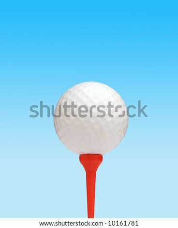 Golf ball on red tee against simulated sky background - stock photo