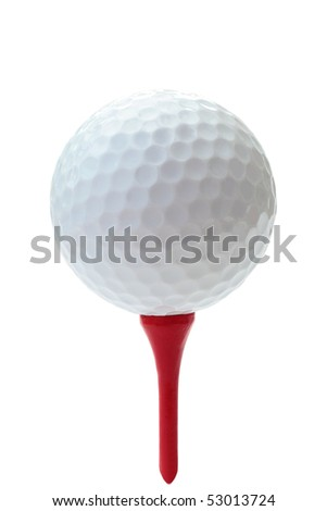 Golf ball on red tee close up - stock photo