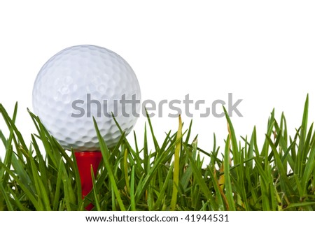 Golf ball on red tee in grass, over white background. - stock photo