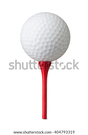 Golf ball on red tee, isolated on white - stock photo