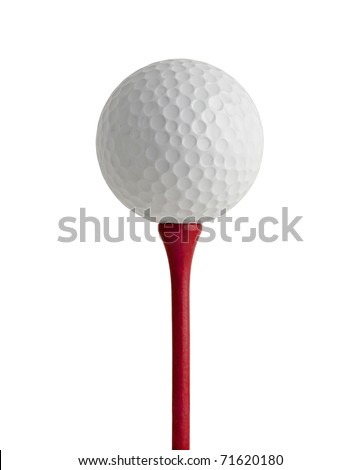 golf ball on red tee, white background - stock photo