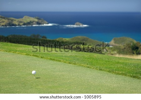 Golf - Ball on tee - stock photo