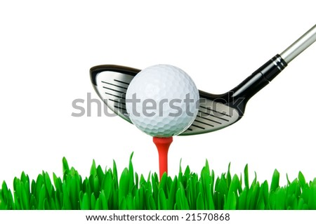 Golf ball on tee and a club ready for swinging isolated on white background