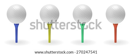Golf ball on tee collection 3D illustration isolated on white background - stock photo