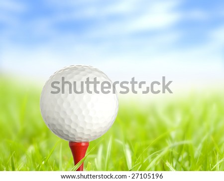 golf ball on tee in beautiful environment