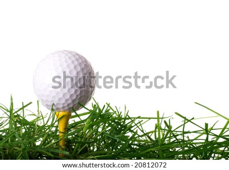 Golf Ball on Tee in Grass Isolated on White Background - stock photo