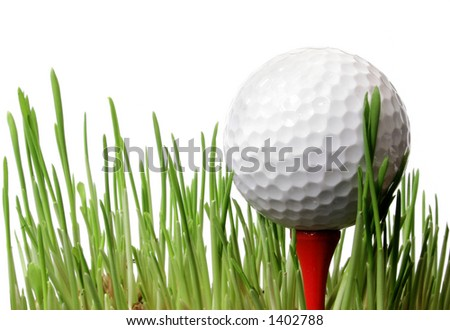 Golf ball on tee in grass with white background - stock photo