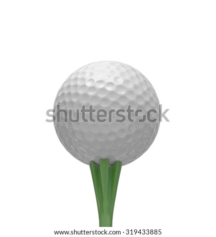 Golf ball on tee, isolated on white - stock photo