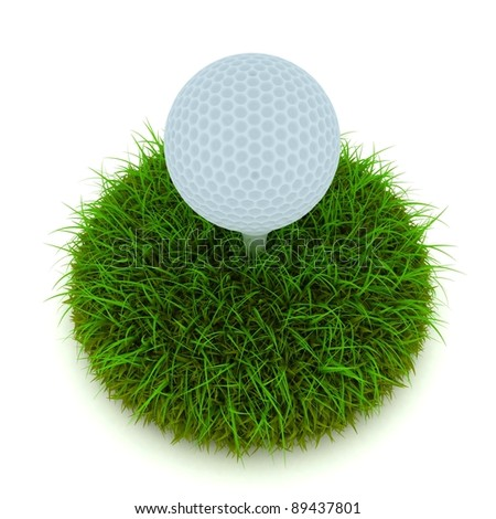Golf ball on tee on golf green course - stock photo