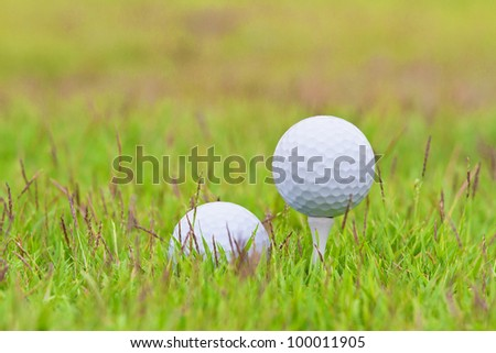 Golf ball on tee over a blurred green - stock photo