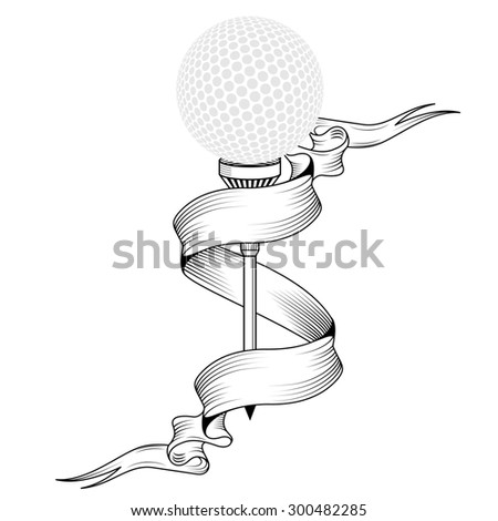 Golf ball on tee realistic  illustration.  golf ball isolated on white background. Golf tee of Engraving style with ball. golf ball on tee with place for text  - stock photo