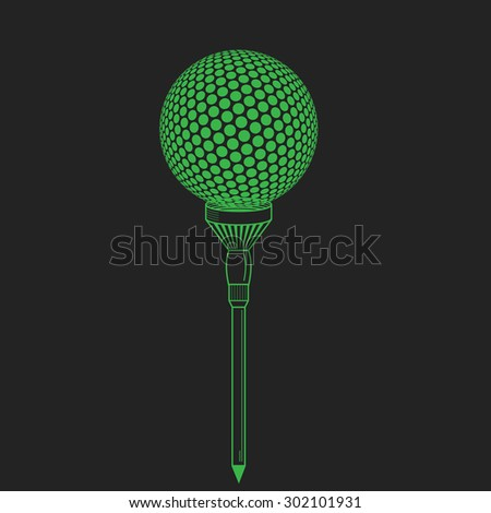 Golf ball on tee realistic  illustration.  golf ball on black. Golf tee of Engraving style with ball - stock photo