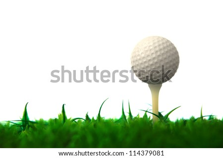 golf ball on tee with green grass field white background - stock photo