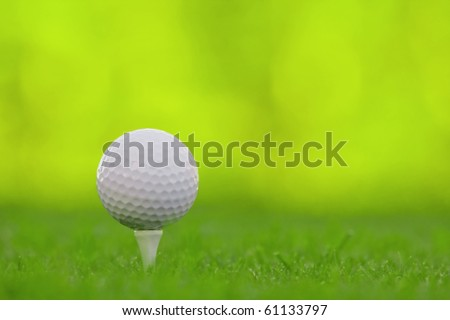 Golf ball on tee with selective depth of field